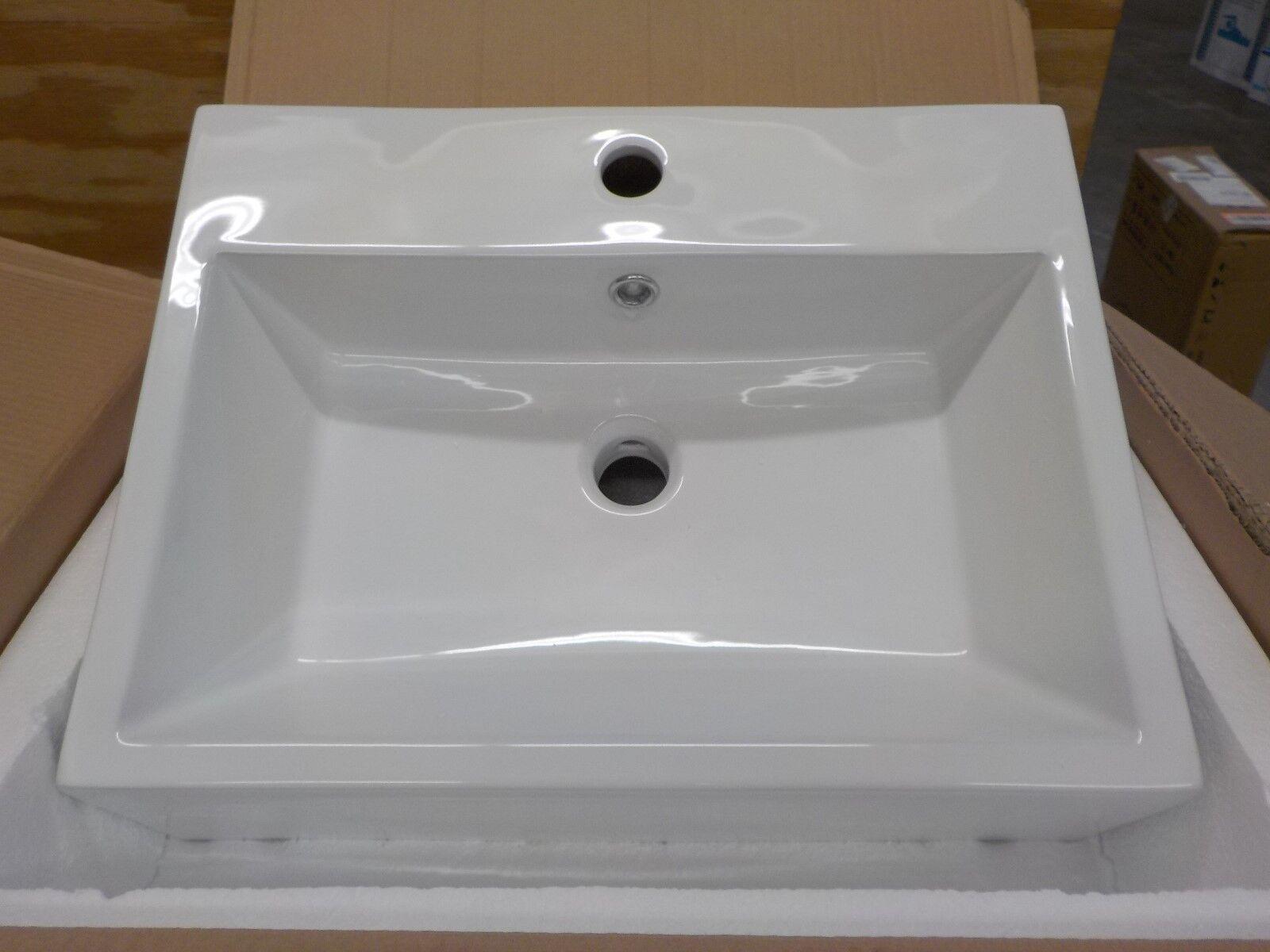 American Imaginations AI-11027 AMIM5238 Rectangle Vanity Vessel Sink White