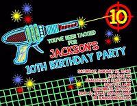 Laser Tag Custom Designed Birthday Invitation Add Photo Any Colors