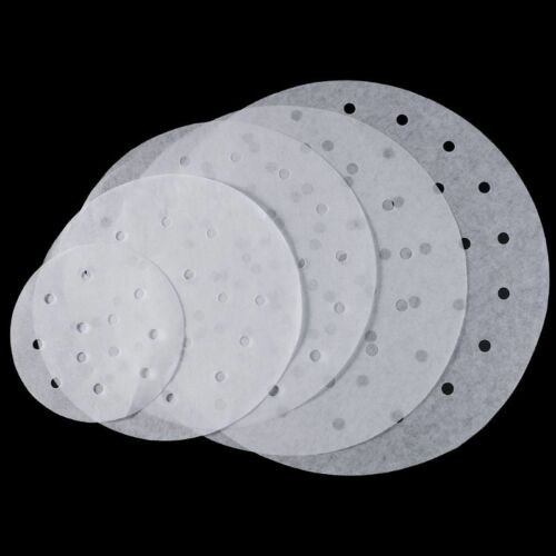 100 pcs Disposable Perforated Paper Liners for Bamboo Steaming Baskets
