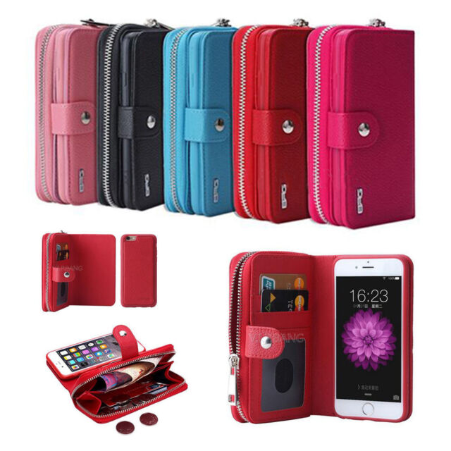 quality design df775 9ede2 Leather Zipper Detachable Wristlet Wallet Case Cover For iPhone & Samsung  Galaxy