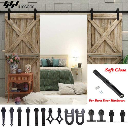 120-488cm Retro Soft Close Sliding Barn Door Hardware Rail Kit Hanger Closet New