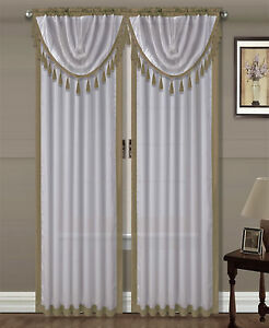 "1pc AMY TAUPE / White Silky Rod Pocket Panel Window Treatment Curtain 55"" X 84"""