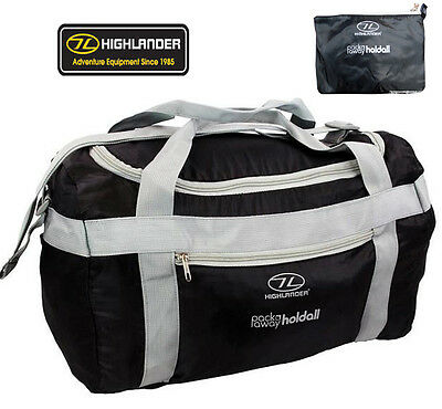 Mens Pack Fold Away Out Travel Holdall Messenger Duffle Bag Pack Black Rucksack