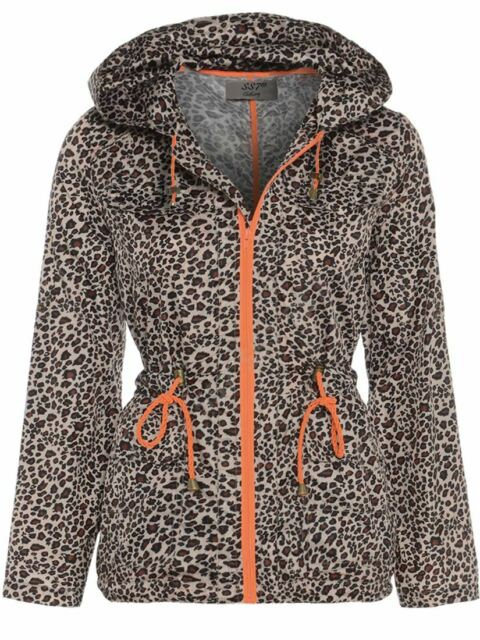 Women Ladies Rain Mac Raincoat Leopard Print Parka Hood Festival Outdoor Jackets