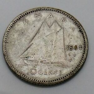 1944 Canada 10 Ten Cents Silver Dime Canadian Circulated Coin F736