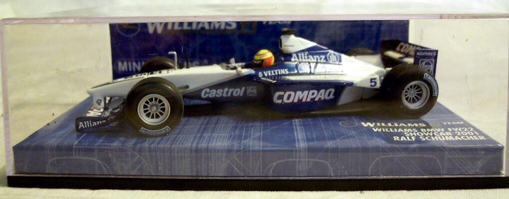 MINICHAMPS 430010095  Williams BMW fw22 Showcar'01,  5 R. Schumacher, NOUVEAU & NEUF dans sa boîte
