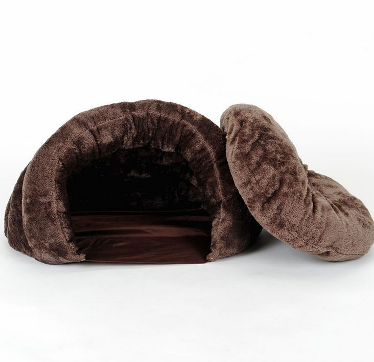 New Warm Coffee Pet Dog Cat Bed House Cushion Half Covered Bed Sleeping Bag S,M