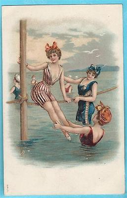 Vintage Postcard Bathing Beauties Ocean Rope  - Risque