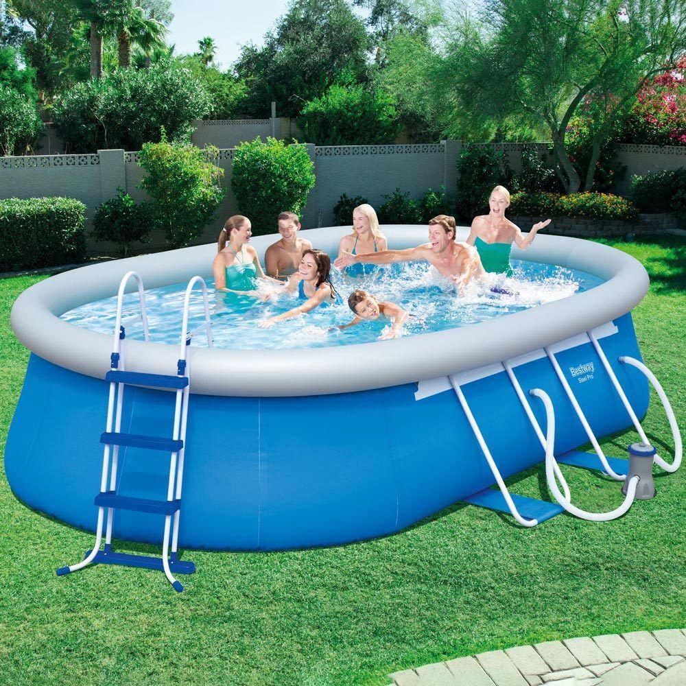 Oval Pool mit einem Kragen  488 x 305 x 107 cm BESTWAY