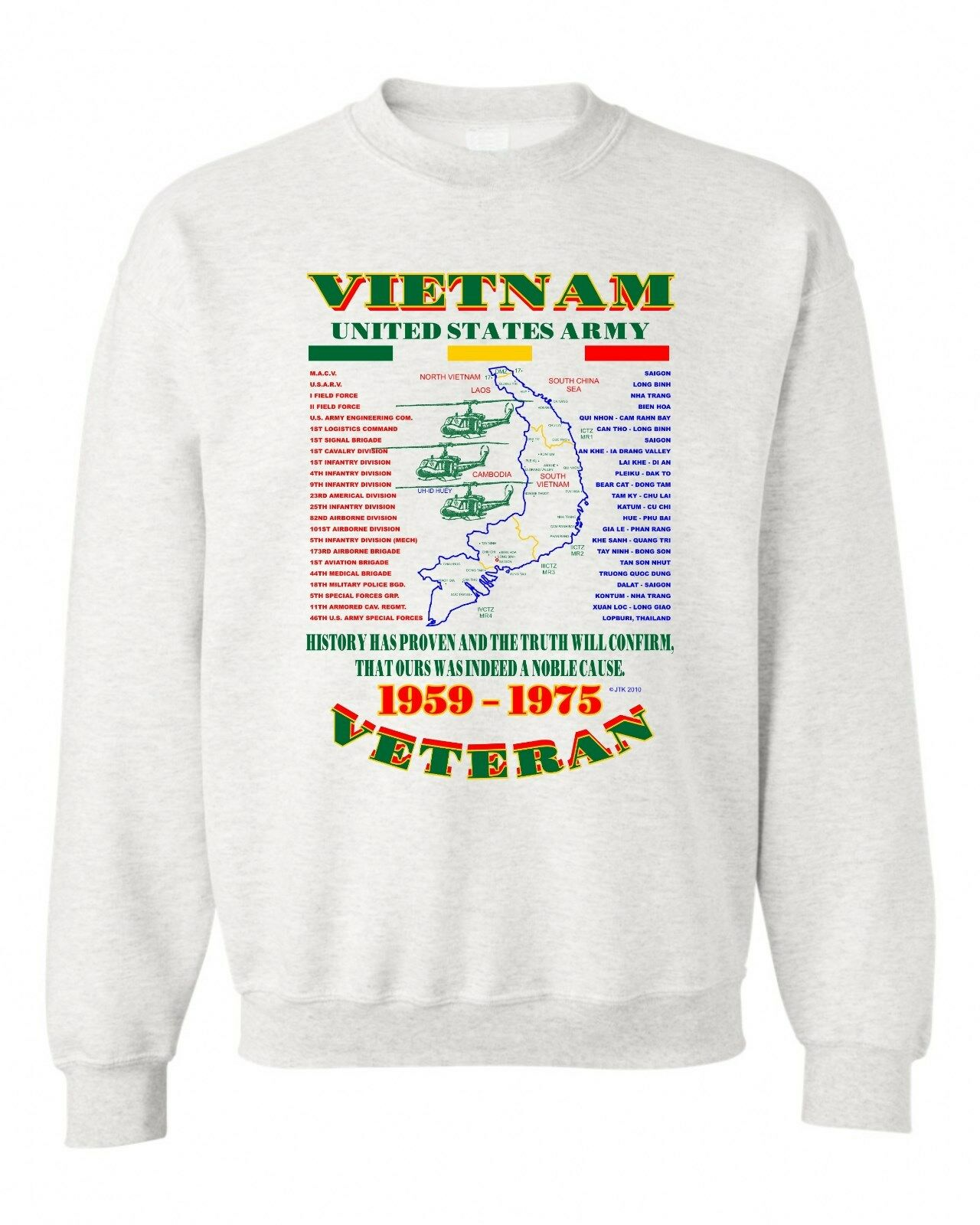 VIETNAM WAR. U.S. ARMY VETERAN UNIT & OPERATION MILITARY SWEATSHIRT