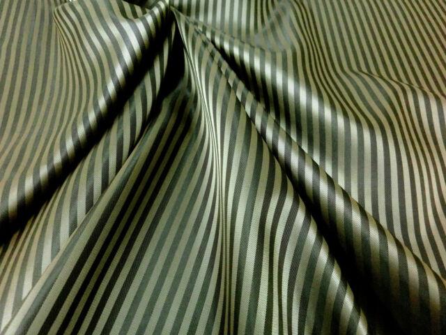 "Dark Gold & Black Faux Silk Stripe Fabric 60""W Lining Men Suit Jacket Ties Bags"
