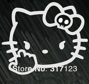 Hello-Kitty-Middle-Finger-Funny-Skull-Decal-Car-Window-JDM-Sticker