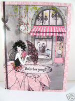 Pink Black Lace Glam Frou Frou Greeting Birthday Femme Fatale Womans Card