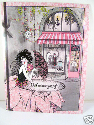 Pink Black Lace Glam Frou Frou Greeting Birthday Femme Fatale Womans Card New