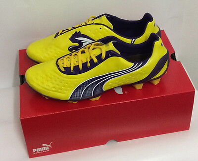 New Puma V1.11 SL FG Mens Yellow, Purple Football Boots Moulded Studs