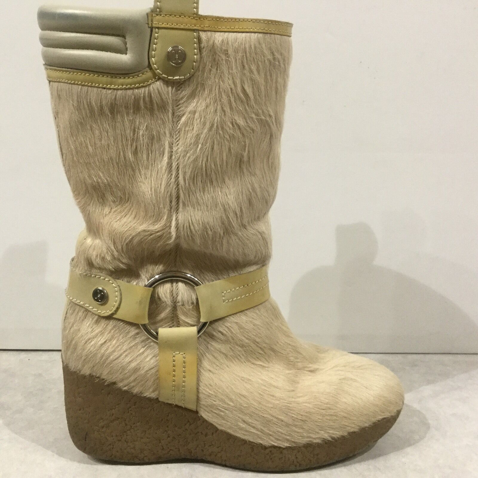 Cole Haan Womens Pony Hair Sheepskin Lined Wedge Snow Boots Sz 7 M