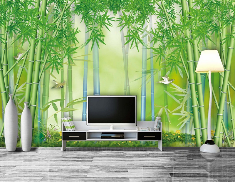3D Grün Bamboo Birds 998 Wallpaper Mural Paper Wall Print Wallpaper Murals UK