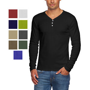 Details about Alta Men s Slim Fit V Neck Long Sleeve Cotton T-Shirt with 3  Button Up Opening 3bdd157494c