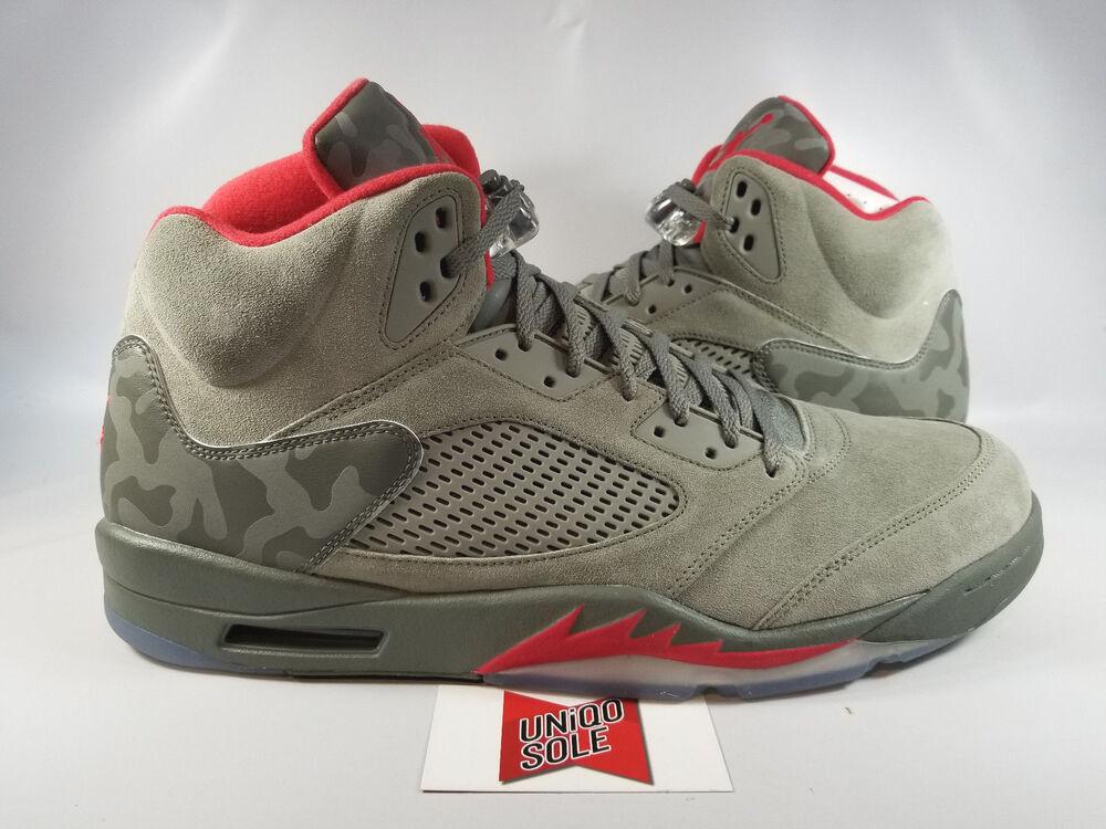 Nike Air Jordan Retro V 5 DARK STUCCO GREEN OLIVE CAMO 136027-051 Homme  Chaussures de sport pour hommes et femmes