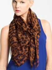 """ALEXANDER MCQUEEN brown SKULL Animal print 52""""-Square silk scarf NEW Authentic!"""