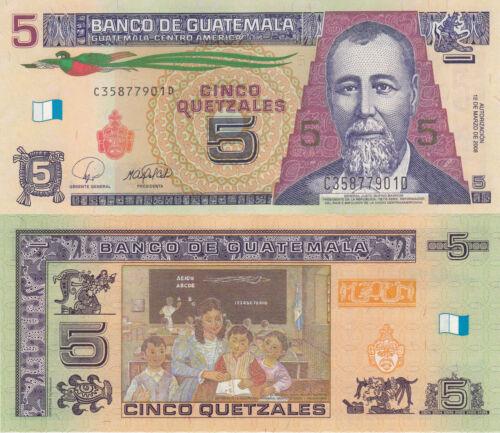 Guatemala 5 Quetzales Revised Color Scheme//p116 UNC 12.3.2008
