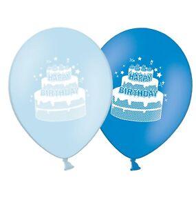 Pleasing Happy Birthday Cake 12 Printed Blue Assorted Latex Balloons Personalised Birthday Cards Arneslily Jamesorg