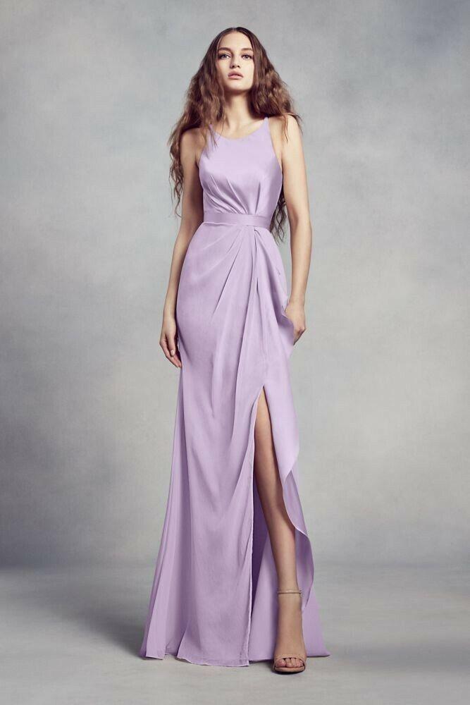 Iris Bridesmaid Prom Dress Charmeuse and Chiffon with Ruffle BY VERA WANG