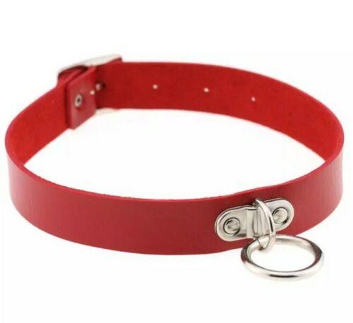 Choker Necklace Collar #78 RED Vegan Leather Circle Silver Knocker Punk Goth
