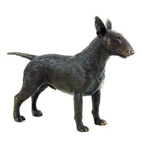 Tierfigur-Bullterrier-Hundestatue-Milo-Bronze-Miniatur-Hund