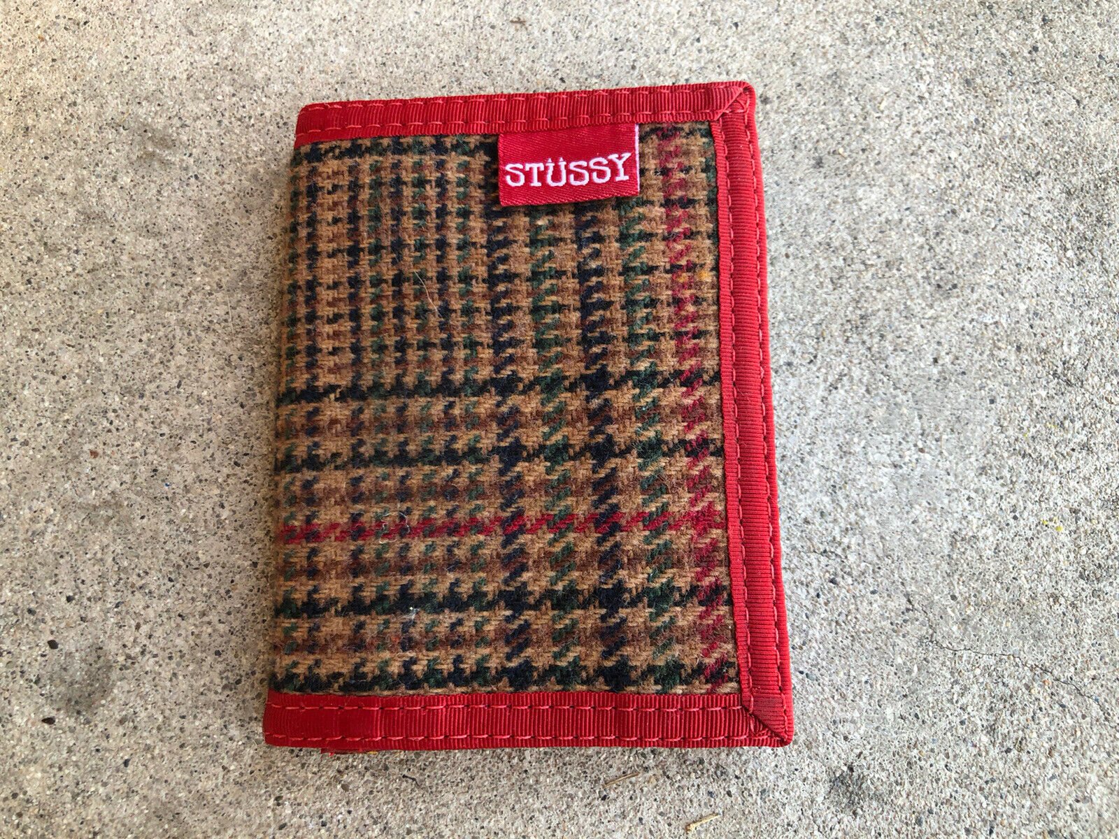Stussy Tri-fold Wallet Coin Case Pouch Plaid Unused
