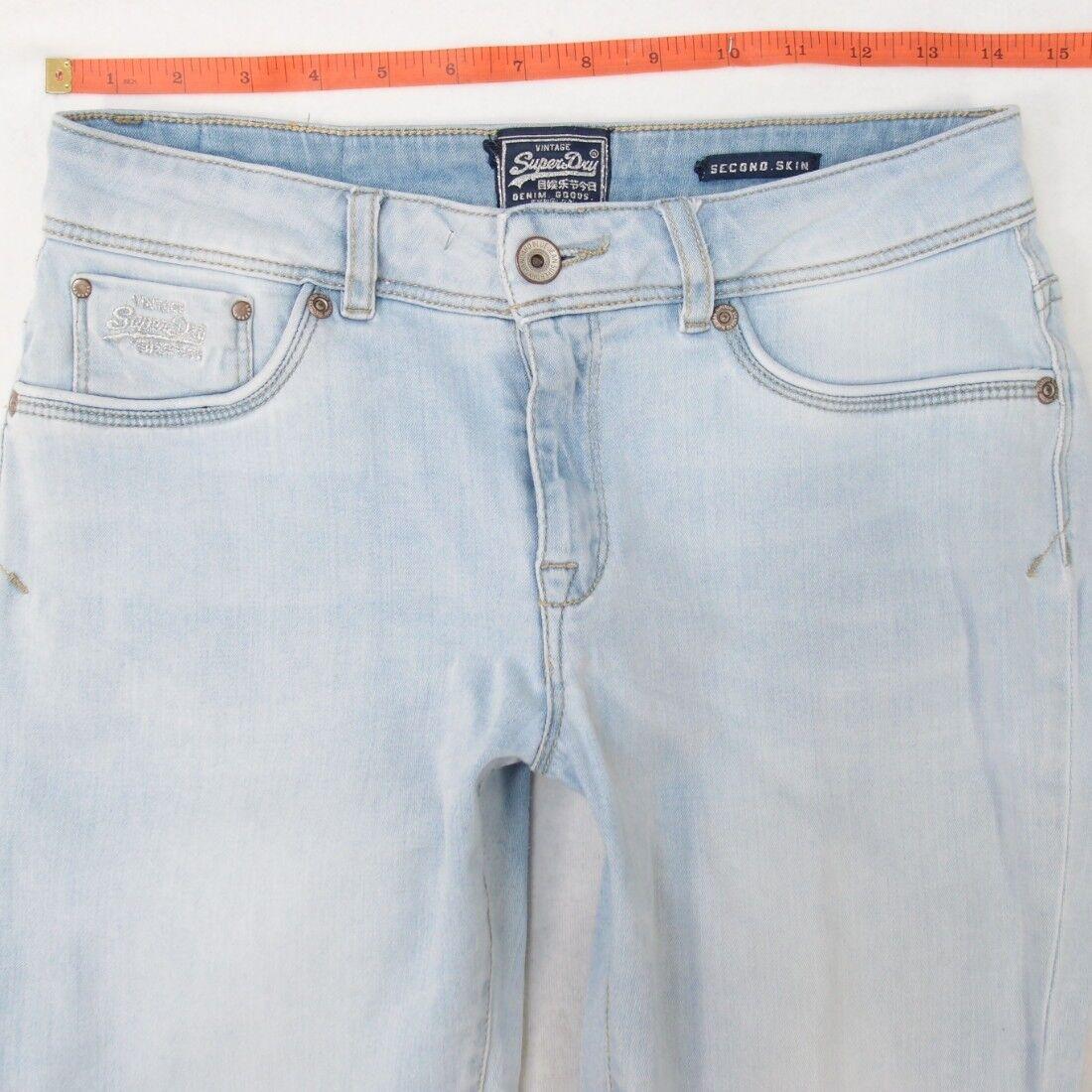 Womens SuperDry Second Skin Stretch Skinny bluee Jeans (W30) W29 L32 UK Size 10