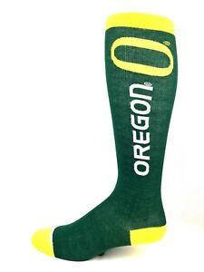 Oregon-Ducks-NCAA-Green-Thin-Long-Crew-Socks-Yellow-Heel-Toe-and-Cuff