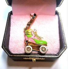 NIB 2007 Juicy Couture Pink Green Roller Skate Charm 14K Gold Plated YJRU1183