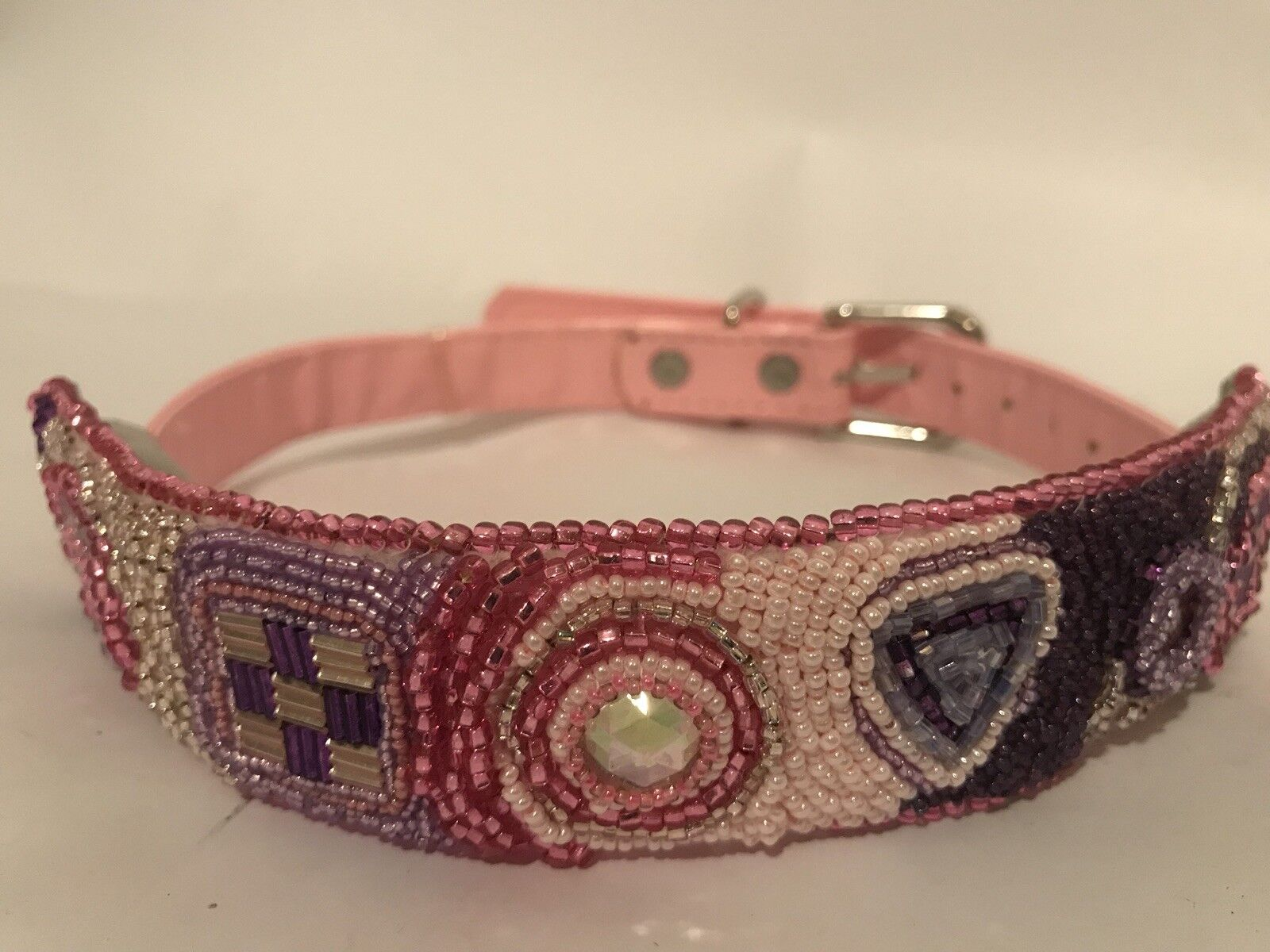 Handmade Beaded Sleeve For Dog Collar Pink Purple
