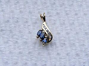 Vtg-14k-Yellow-Gold-Sapphire-And-Diamond-Pendant