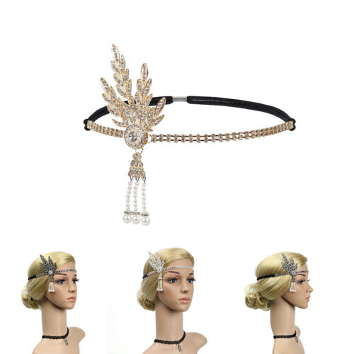 JN/_ KE/_ HK Flapper Great Gatsby Headband Pearl Charleston Party Bridal Headpi