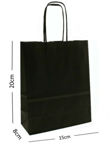 Birthday Party Gift Bags Paper Loot Goody Bag 15x20+8cm Black Extra Small
