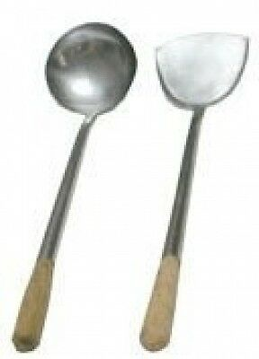 43.2cm l. x 10.8cm Home Use Stainless Hand-Tooled Chuan & Hoak (Spatula & Ladle)