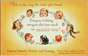Come to Sunday School~Postcard~We Missed You~Children Talking~Posted 1956