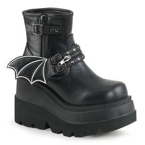 Black Platform Shoes Punk Goth Ankle Boots Bat Wing Demonia Womans ... 480d994bde96