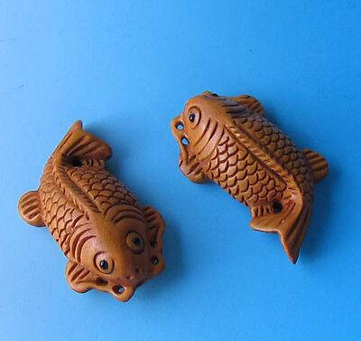 KOI FISH Hand CARVED Goldfish CARP BOXWOOD Bead 4128FG2