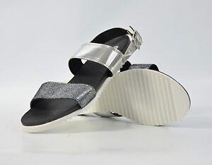 Minuti Sandali Tg 42 Scarpe in pelle Cinturino Argento Scarpe da donna 218 m2 NUOVO