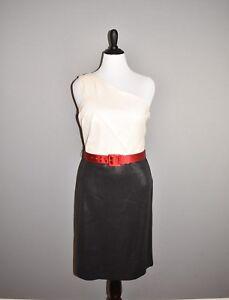 ST-JOHN-1-495-Ivory-Black-Sequin-One-Shoulder-Belted-Sheath-Dress-Size-10