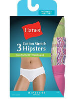 HANES Women's Cotton Stretch Hipster Panties with ComfortSoft - 3 Pack - ET41AS