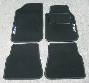 """car mats in black to fit peugeot 206 + silver """"206 gti 180&"""