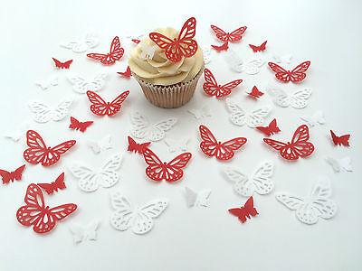 Home & Garden 48 Edible Rojo/blanco Mariposas Precortado Oblea Adornos De Cupcake High Quality And Inexpensive