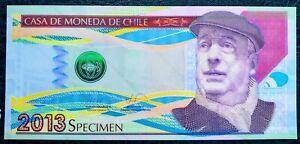 Chile-Specimen-2013-Casa-De-Moneda-Pablo-Neruda-Type-Polymer-Test-Note-Unc