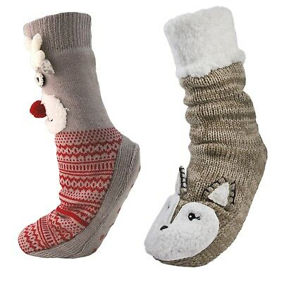 Humorvoll Womens 3d Animal Knitted Boots Slipper Socks Ankle Booties Ladies Girls Size HüBsch Und Bunt