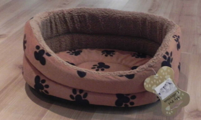 Pet Bed Faux Fur Paw Print Basket Removable Washable Cushion Small Medium Large