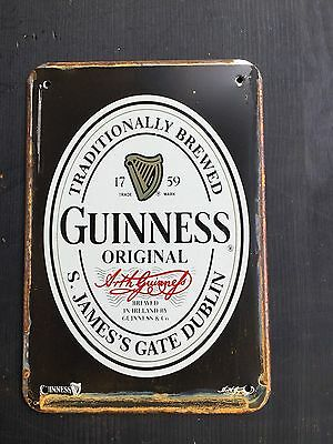 Guinness Black Label  Pub METAL SIGN vtg Home Garage Irish  Bar Decor 20x30 Cm